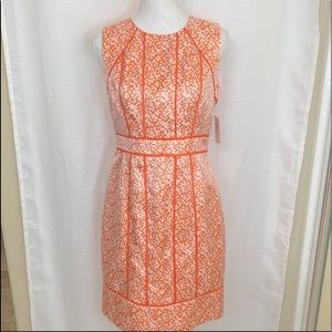 Muse Arley Sheath Dress Career Orange Piping 6 NWT